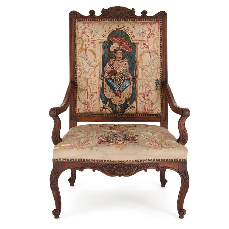 Living Room Suites For Sale: Beauvais Tapestry And Beech Wood Furniture Suite For Sale