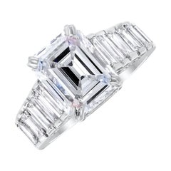 Beauvince 3.20 Emerald Cut GIA Certified Engagement Ring in White Gold
