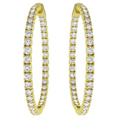 Beauvince 6.19 Carat Round Diamond Hoops in Yellow Gold