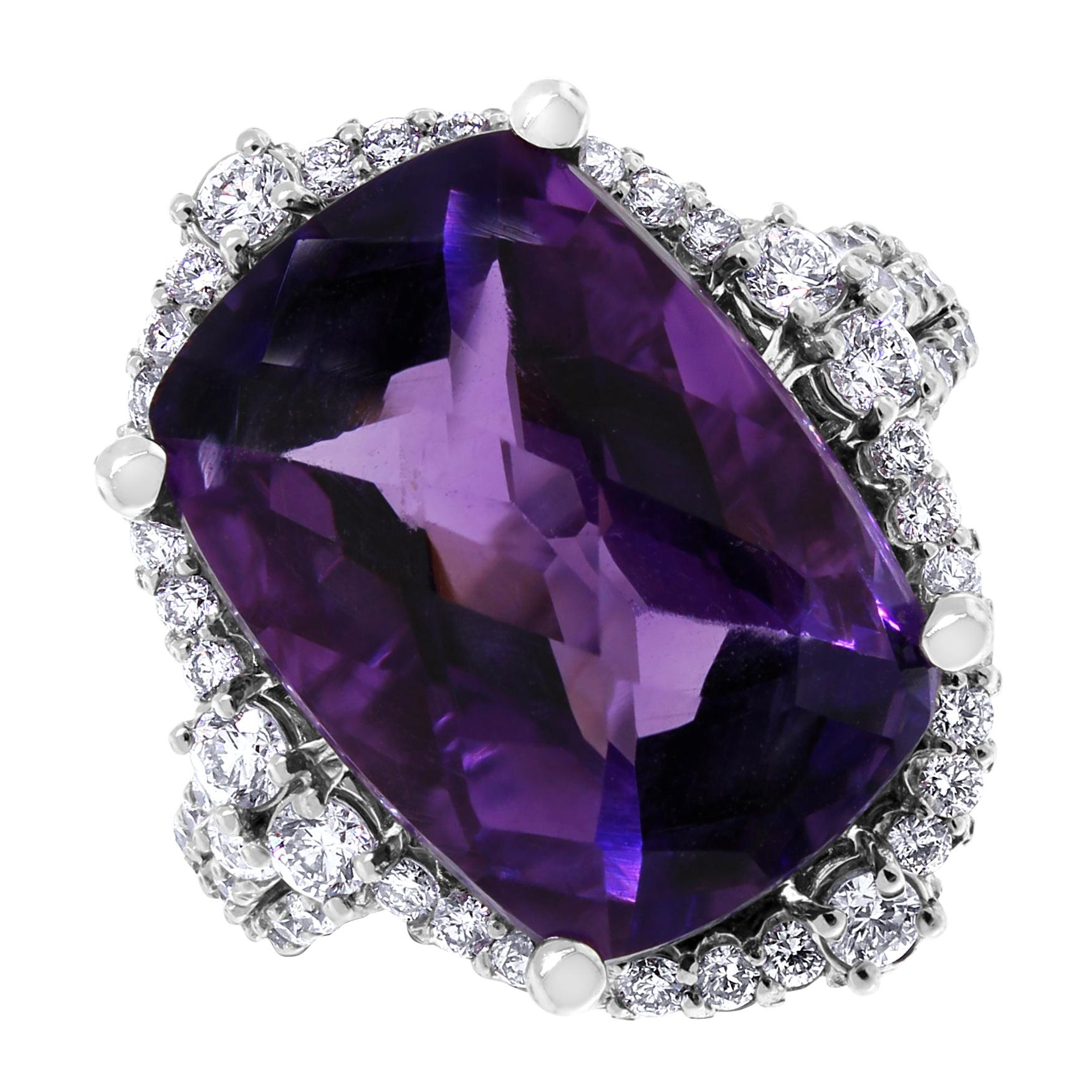 Beauvince Amethyst and Diamond Halo Cocktail Ring in White Gold