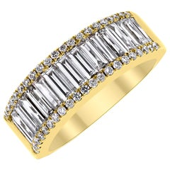 Beauvince Baguettes and Rounds Diamond Band in Yellow Gold
