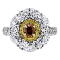Beauvince Ballerina Ring with 2.44 Carat Orangy Brown, Yellow and White Diamonds
