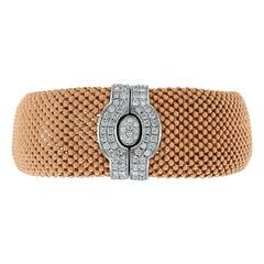 Beauvince Beaded Rose Gold Diamond Lock Broad Bracelet