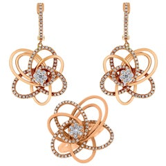 Beauvince Bloom Diamond Earrings and Ring Set in Rose Gold