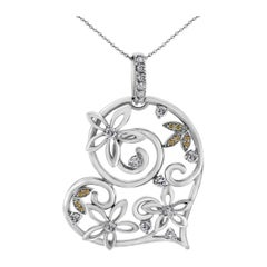 Beauvince Bloom Heart Diamond Pendant in White Gold
