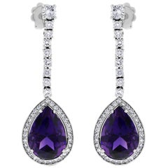 Beauvince Claire Amethyst and Diamond Dangle Earrings in White Gold