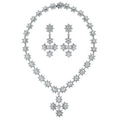 Beauvince Cross Pendant Diamond Necklace and Earring Suite in White Gold