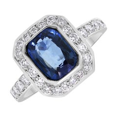 Beauvince Deep Blue Sea Sapphire and Diamond Ring in White Gold