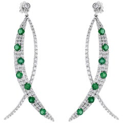 Beauvince Diamond and Green Emerald Olive Dangling Earrings in White Gold
