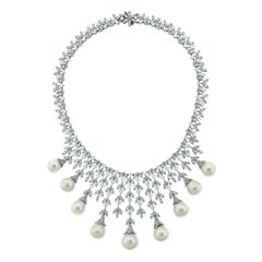 Beauvince Diamond and South Sea Pearl Collar Necklace in White Gold