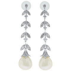 Beauvince Diamond and South Sea Pearl Dangle Earrings in White Gold