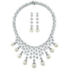 Beauvince Diamond and South Sea Pearls Necklace and Earrings Suite in White Gold