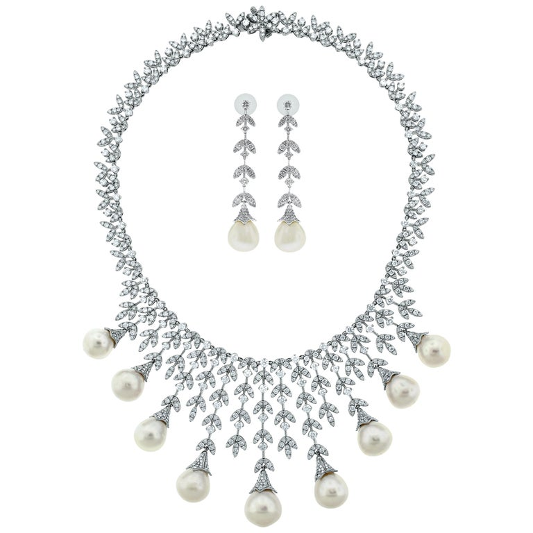 Beauvince Diamond and South Sea Pearls Necklace and Earrings Suite in White Gold For Sale