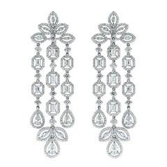 Beauvince Diamond Chandelier Earrings in White Gold
