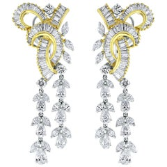 Beauvince Diamond Chandelier Earrings in Yellow and White Gold
