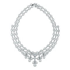 Beauvince Diamond Choker Collar Necklace in White Gold