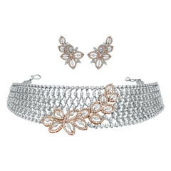 Beauvince Diamond Choker Necklace and Earring Suite in Rose and White Gold