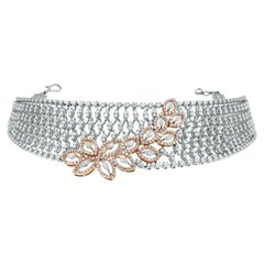 Beauvince Diamond Choker Necklace in Rose and White Gold