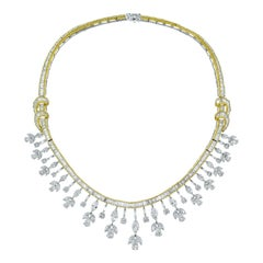 Beauvince Diamond Collar Necklace in Yellow and White Gold
