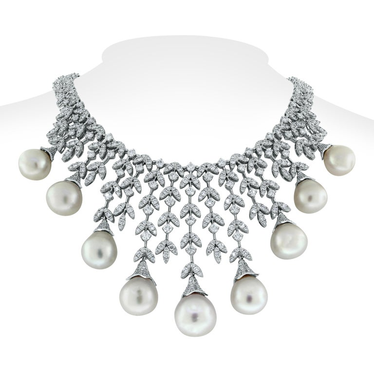 Beauvince Diamond and South Sea Pearls Necklace and Earrings Suite in White Gold For Sale 1