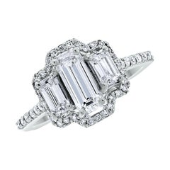 Beauvince Diana Engagement Ring 1.28 Carat Diamonds in White Gold
