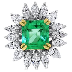 Beauvince Emerald and Diamond Halo Cocktail Statement Ring in White Gold