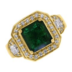 Beauvince Emma Emerald & Diamond Ring in Yellow Gold