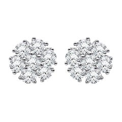Beauvince Flower Cluster Diamond Studs in White Gold