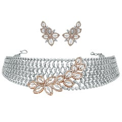 Beauvince Gaia 9.83 Carat Diamond Choker and Earrings Suite in White & Rose Gold