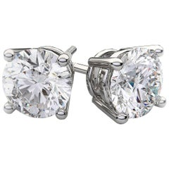Beauvince GIA Certified 2.02 Carat Round Solitaire Diamond Studs