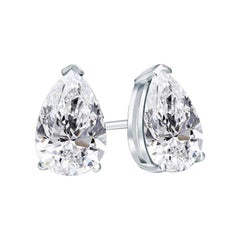 Beauvince GIA Certified 2.51 Carat Pear Shape Solitaire Diamond Studs