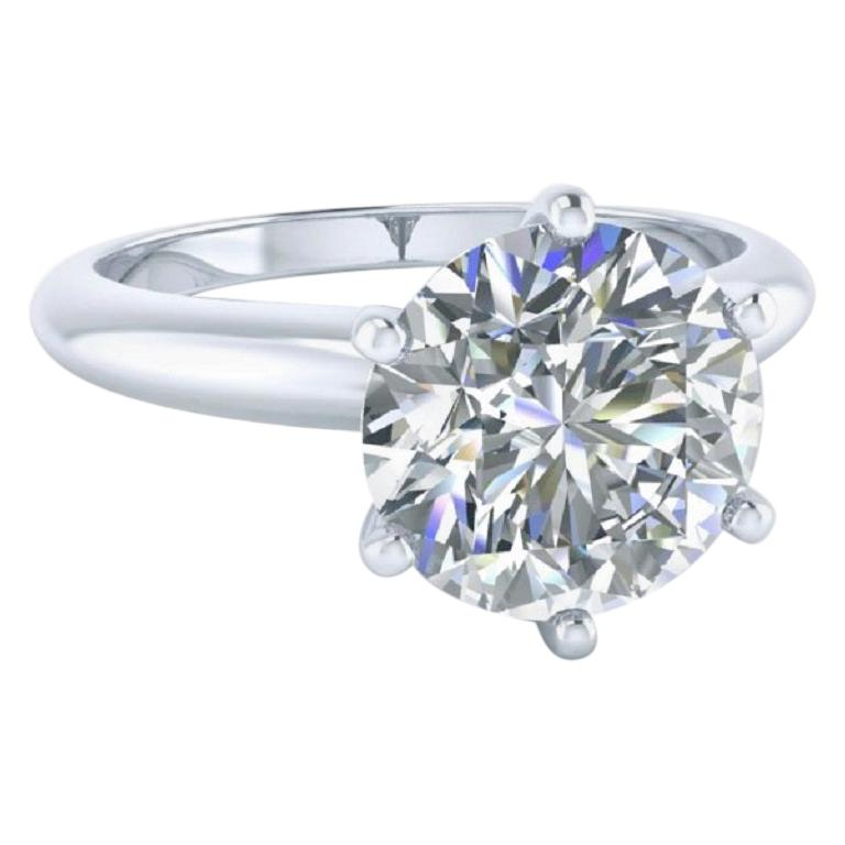 Beauvince GIA Certified 6.83 Carat Round FVVS2 Solitaire Engagement Ring For Sale