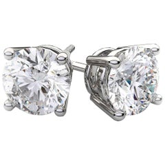 Beauvince GIA HVVS2 Certified 2.01 Carat Round Solitaire Diamond Studs