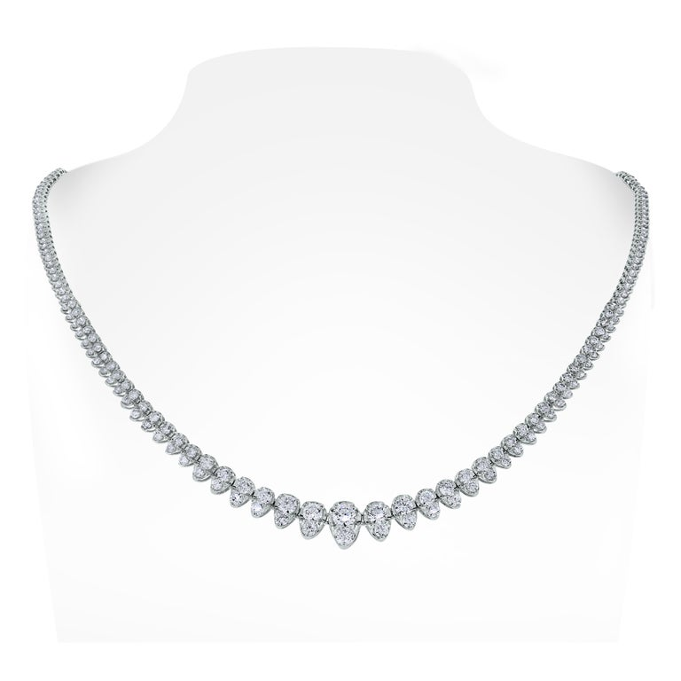 A classic and elegant everyday or occasional wear the chic Pears Tennis Diamond Necklace is a timeless and versatile piece of jewelry. All our necklaces have two locks for added security.  Total Diamond Weight: 5.15 ct  Diamond Color: H - I Diamond