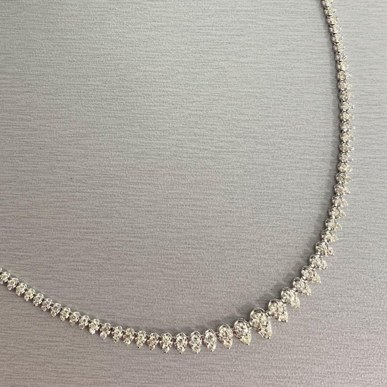 Round Cut Beauvince Graduated Diamonds Pears Tennis Necklace in White Gold For Sale