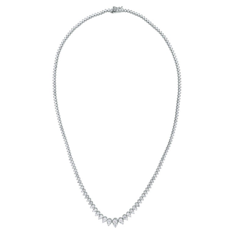 Beauvince Graduated Diamonds Pears Tennis Necklace in White Gold For Sale