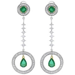 Beauvince Green Emerald and Diamond Clara Dangling Earrings
