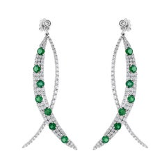 Beauvince Green Emerald and Diamond Long Dangle Earrings in White Gold