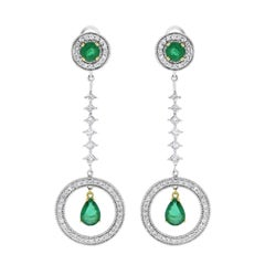 Beauvince Green Emerald and White Diamond Long Dangle Earrings in White Gold