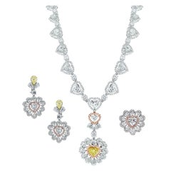 Beauvince Heart Diamond Necklace, Earring and Ring Suite in White Gold