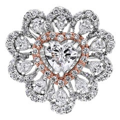 Beauvince Heart Solitaire Cocktail Diamond Ring in Rose and White Gold