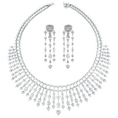 Beauvince Hearts Necklace and Earrings Suite in White Gold