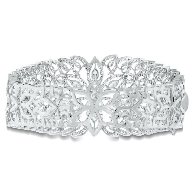 Contemporary Beauvince Marquise Diamond Halo Cuff Bangle in White Gold For Sale