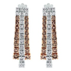 Beauvince Lisa Rose Brown and White Diamond Earrings in Gold
