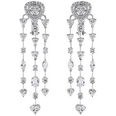 Beauvince Hearts Chandelier Earrings in White Gold