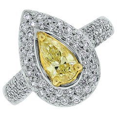 Beauvince Luz Ring 0.56 Carat Pear Shape Fancy Yellow SI2 Diamond in White Gold