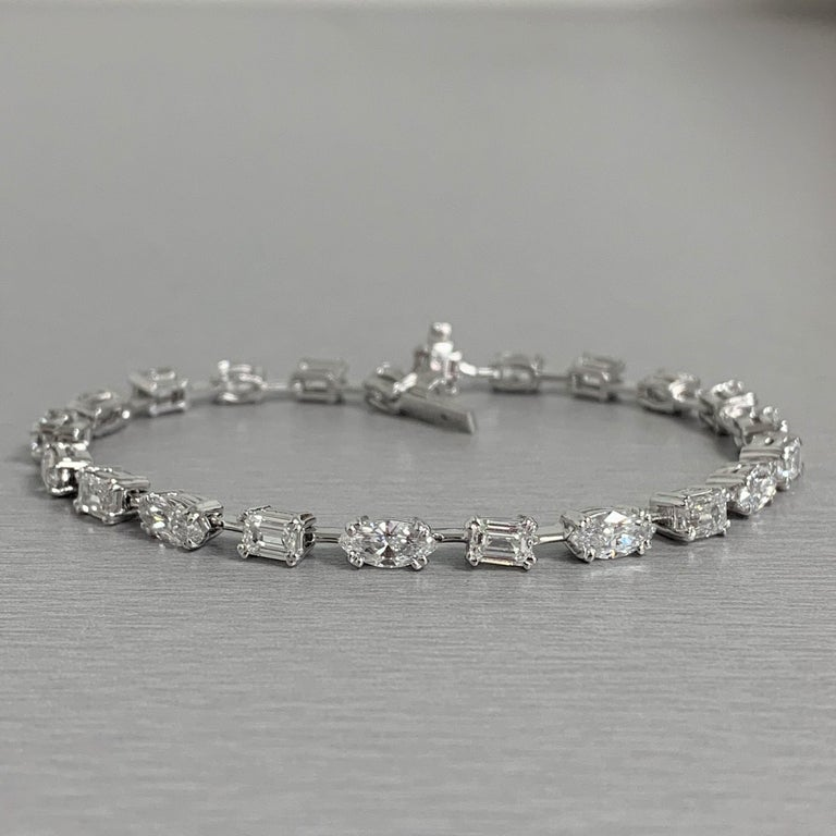 Contemporary Beauvince Marquise and Emerald Cut Diamond Tennis Bracelet in Platinum For Sale
