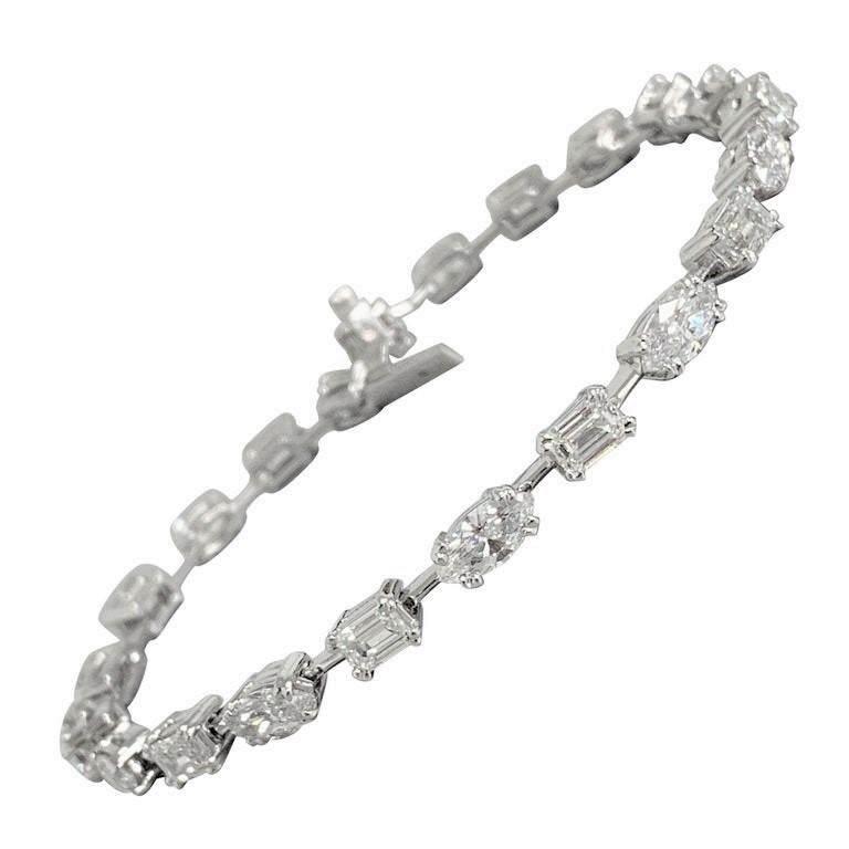 Beauvince Marquise and Emerald Cut Diamond Tennis Bracelet in Platinum For Sale