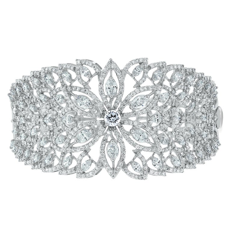 Beauvince Marquise Diamond Halo Cuff Bangle in White Gold For Sale