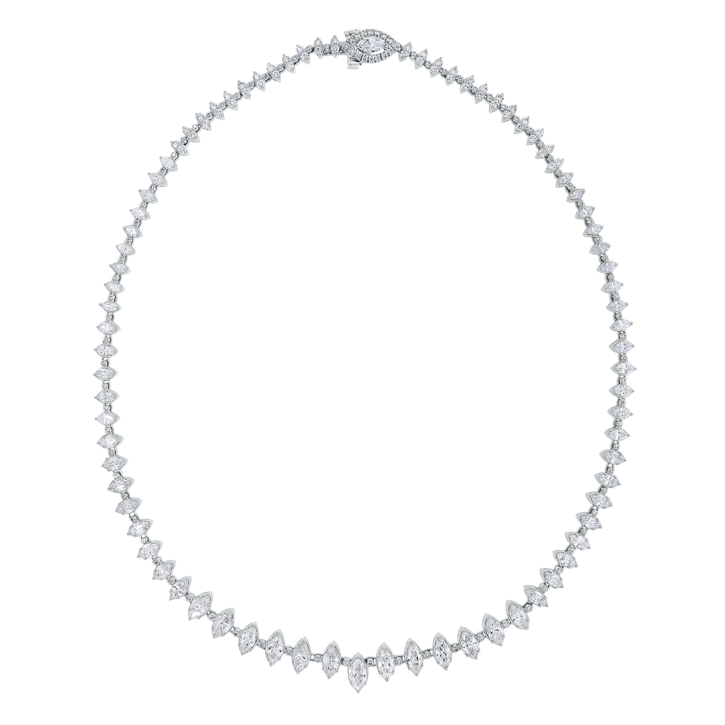 Beauvince Marquise Diamond Tennis Riviera Necklace in White Gold